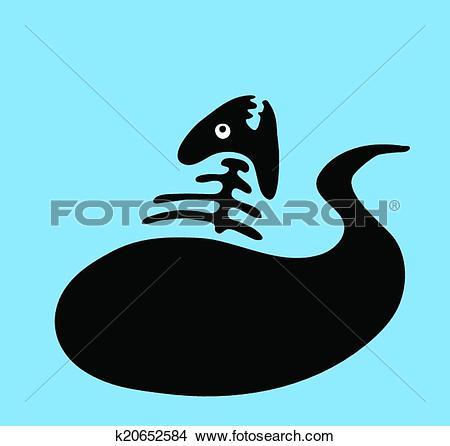 Clip Art of fish bone in oil slick, water pollution concept.