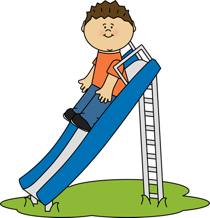 Kid Playing on a Slide Clip Art.