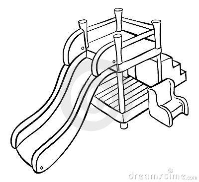 Slide Outline Playground Stock Photo.