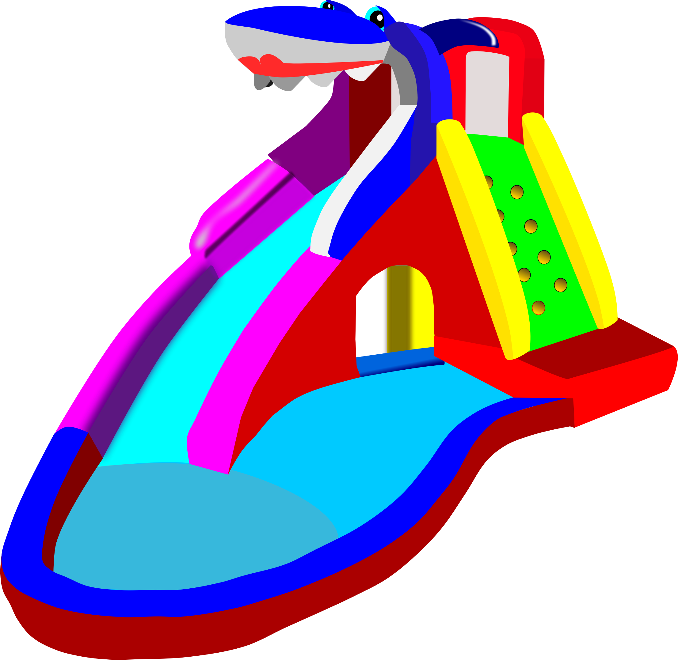 Water Fight Slide Clipart.