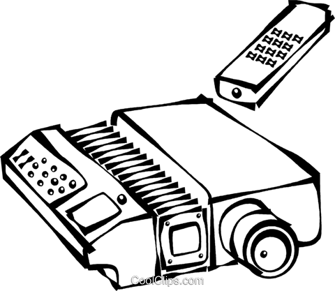 slide projector with a remote control Royalty Free Vector Clip Art.
