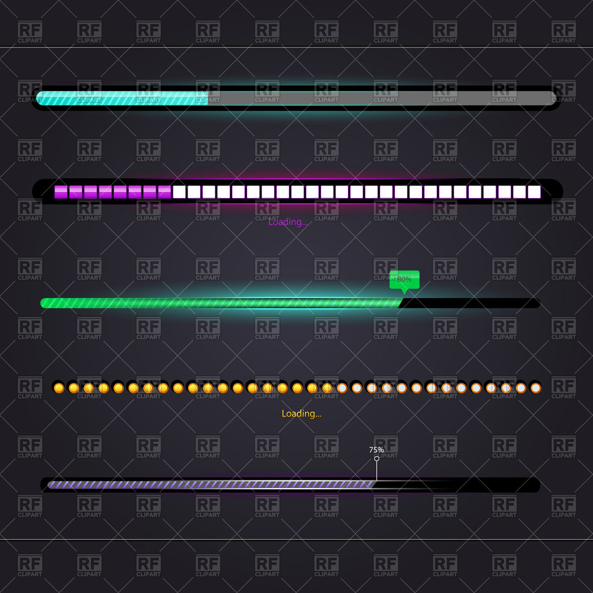 Slide bar control and modern glossy loading bar Vector Image.