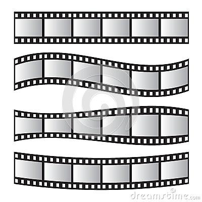 Slide Film Frame Set, Film Roll 35mm. Media Stock Vector.