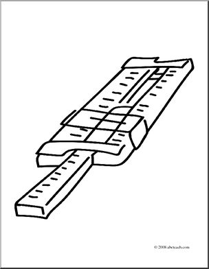 Clip Art: Slide Rule (coloring page) I abcteach.com.