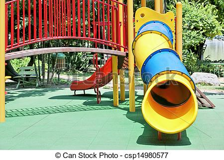 Picture of Slide tunnel for kids in outdoor playground csp14980577.