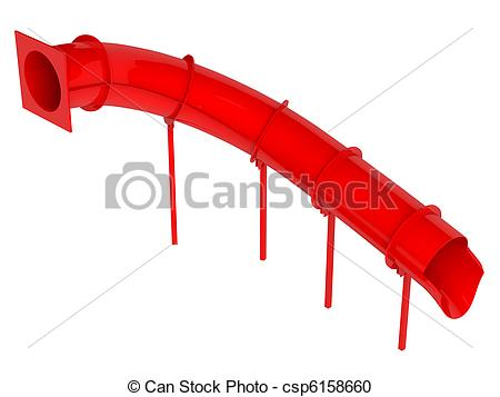 Stock Illustration of Red waterslide isolated on white background.