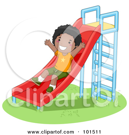 Clipart of 3d White Kids Playing on a Slide, on a White Background.