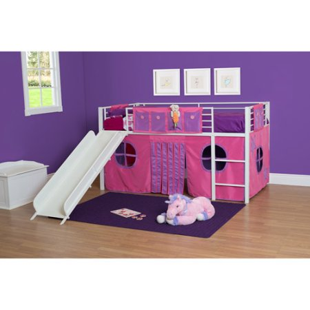 Girl Twin Loft Bed with Slide.