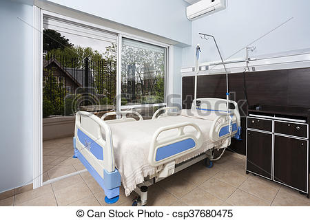 Picture of Bed By Sliding Door In Rehabilitation Center.