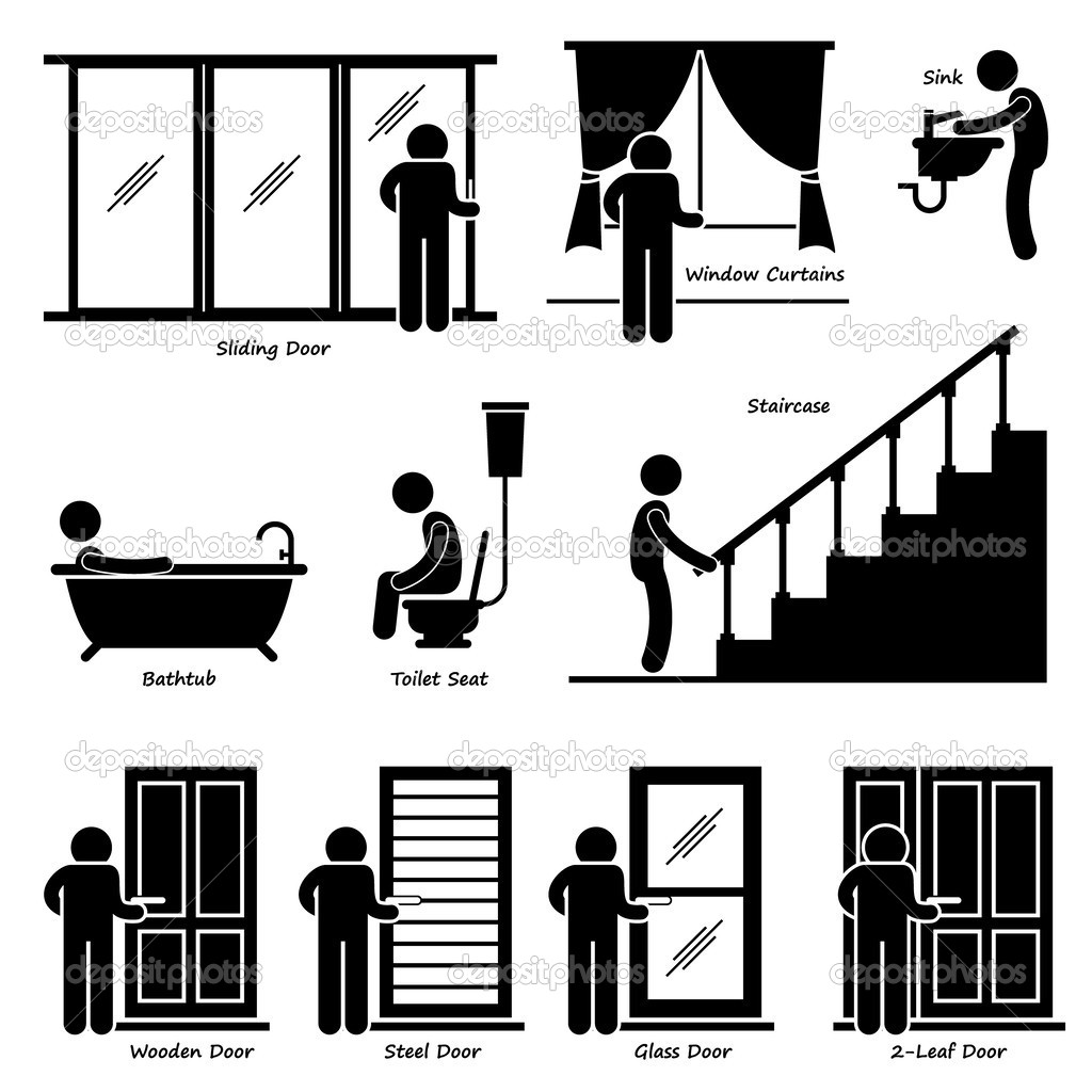 Home House Indoor Fixtures Stick Figure Pictogram Icon Cliparts.