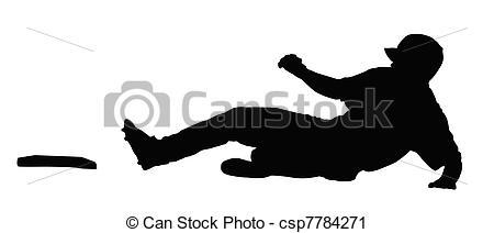 Baseball Player Sliding Clipart.