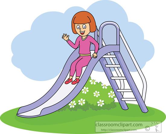 Kids : girl on slide : Classroom Clipart.