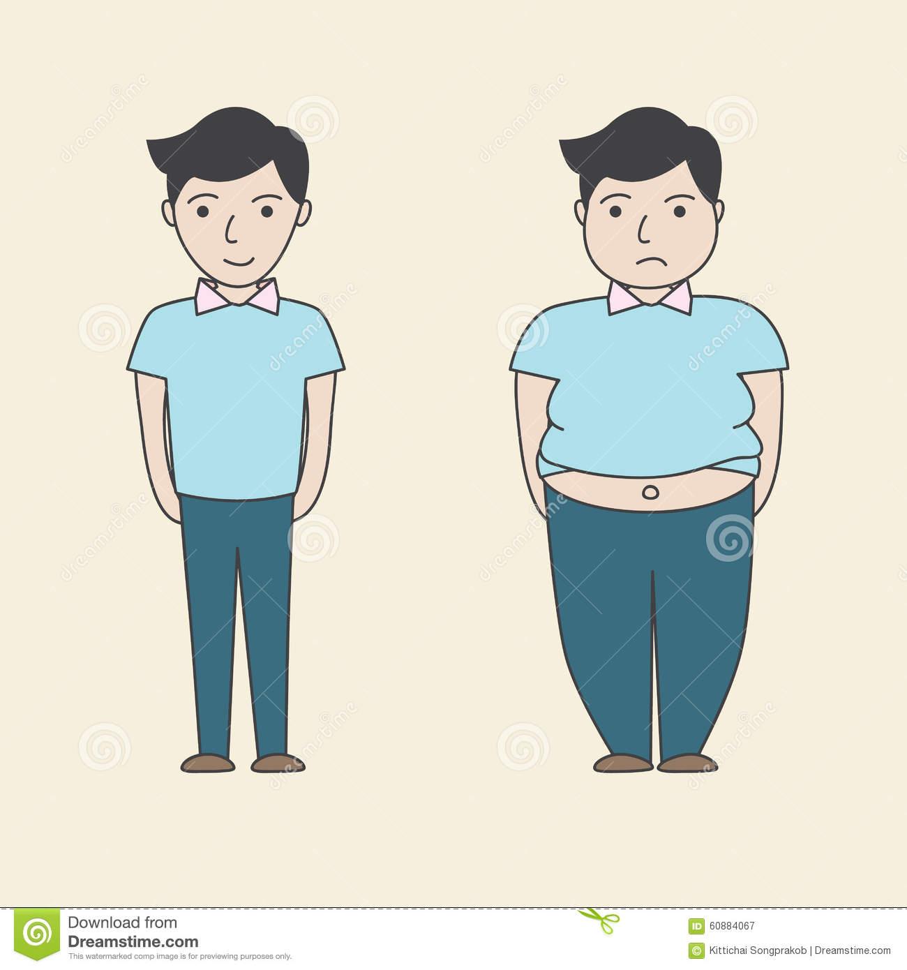 Cartoon Fat Slim Stock Illustrations.