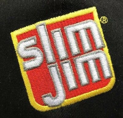 SLIM JIM TRUCKER Hat SnapBack Cap Embroidered Logo Black Red.