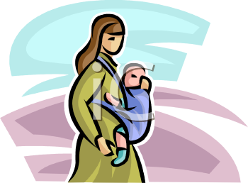 Royalty Free Clipart Image: Woman With Her Baby in a Front Sling.