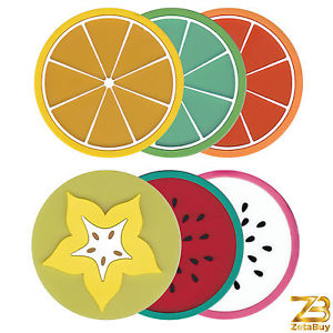 Set of 6 Fruit Slice Cup Coasters Non.