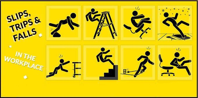 Identify slip, trip, and fall hazards on the # workplace.