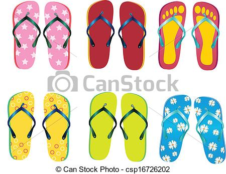 Vector Clipart of Six of beach slippers csp16726202.