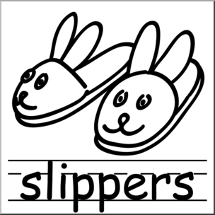 Clip Art: Basic Words: Slippers B&W Labeled I abcteach.com.