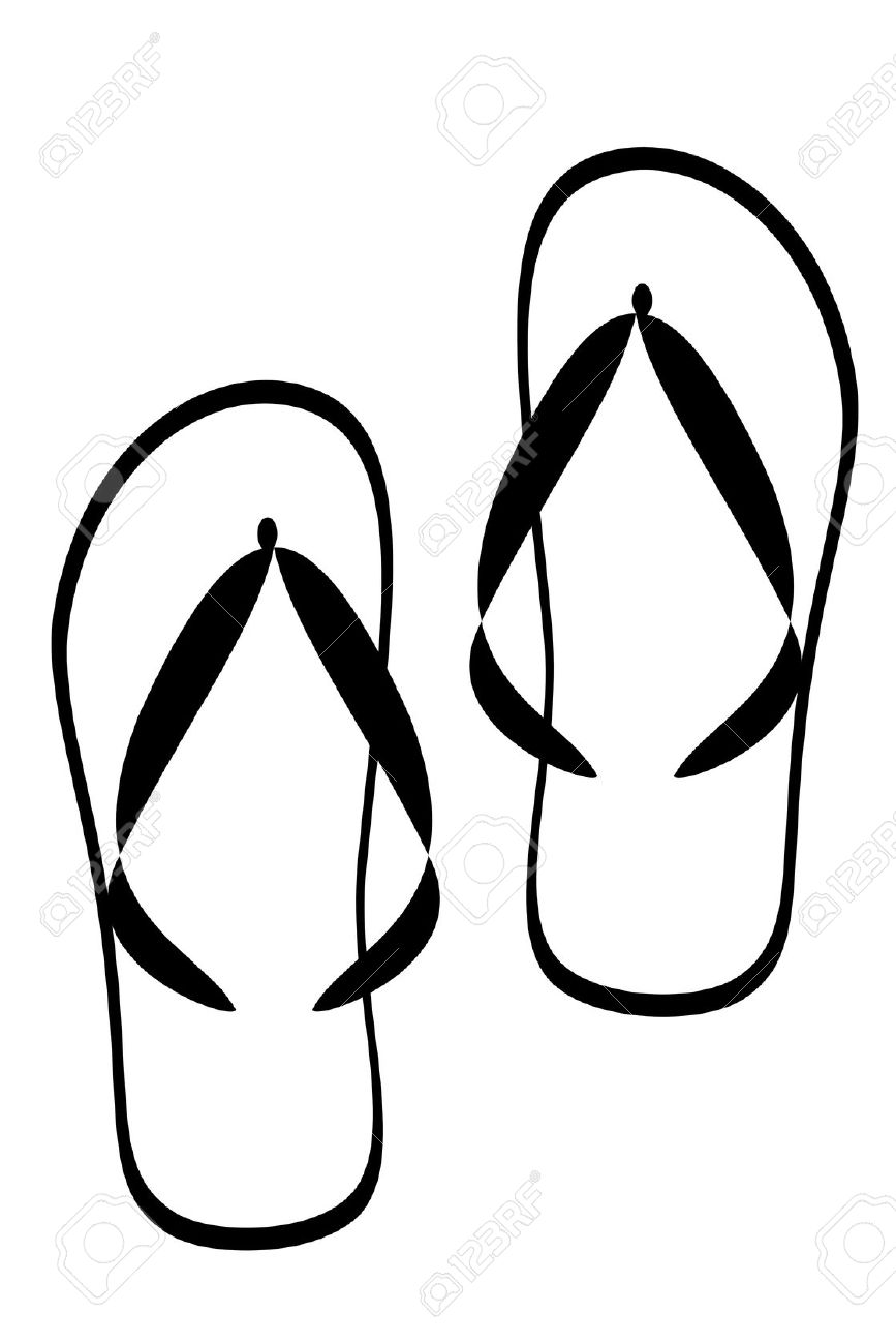 Slipper Clipart Black And White.