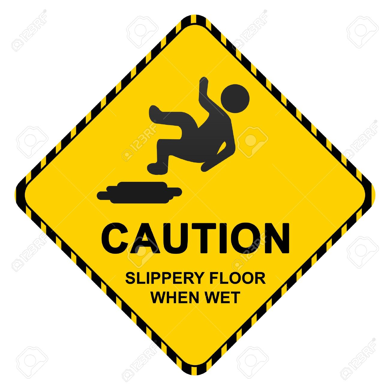 Caution Slippery Floor When Wet Sign Isolated On White Background.