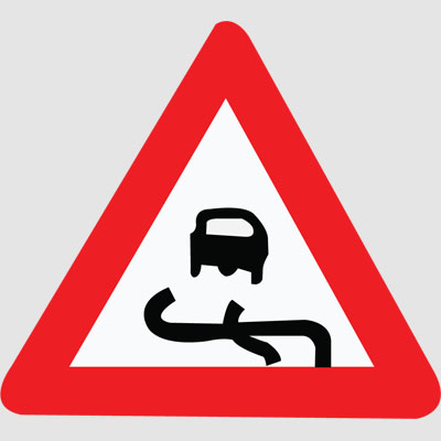 Slippery Road Sign.