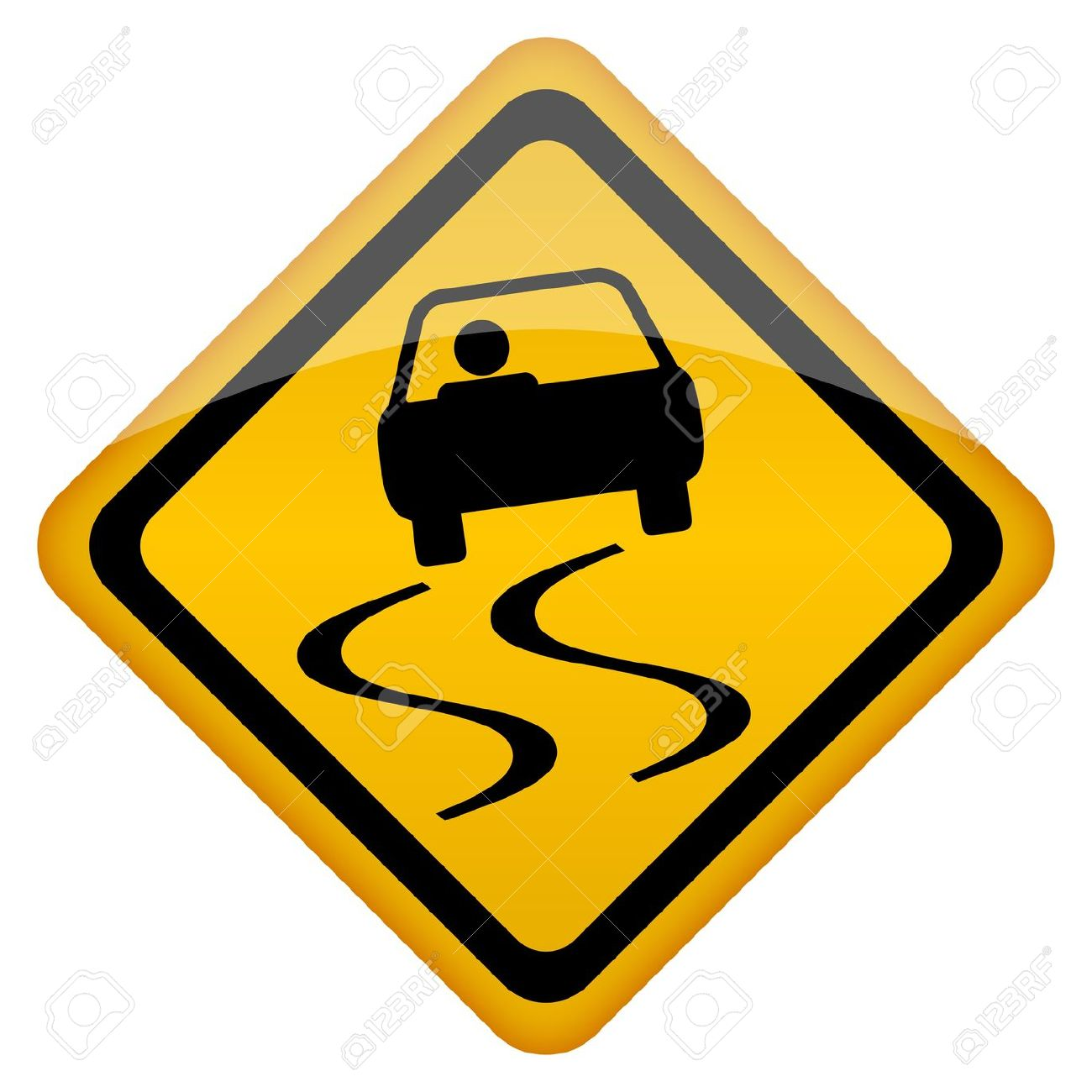 Vector Slippery Road Sign Royalty Free Cliparts, Vectors, And.