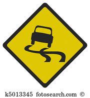 Slippery road sign Stock Illustrations. 225 slippery road sign.
