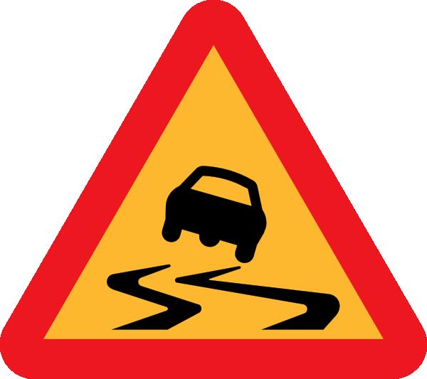 Slippery Road Sign clip art Free Vector / 4Vector.