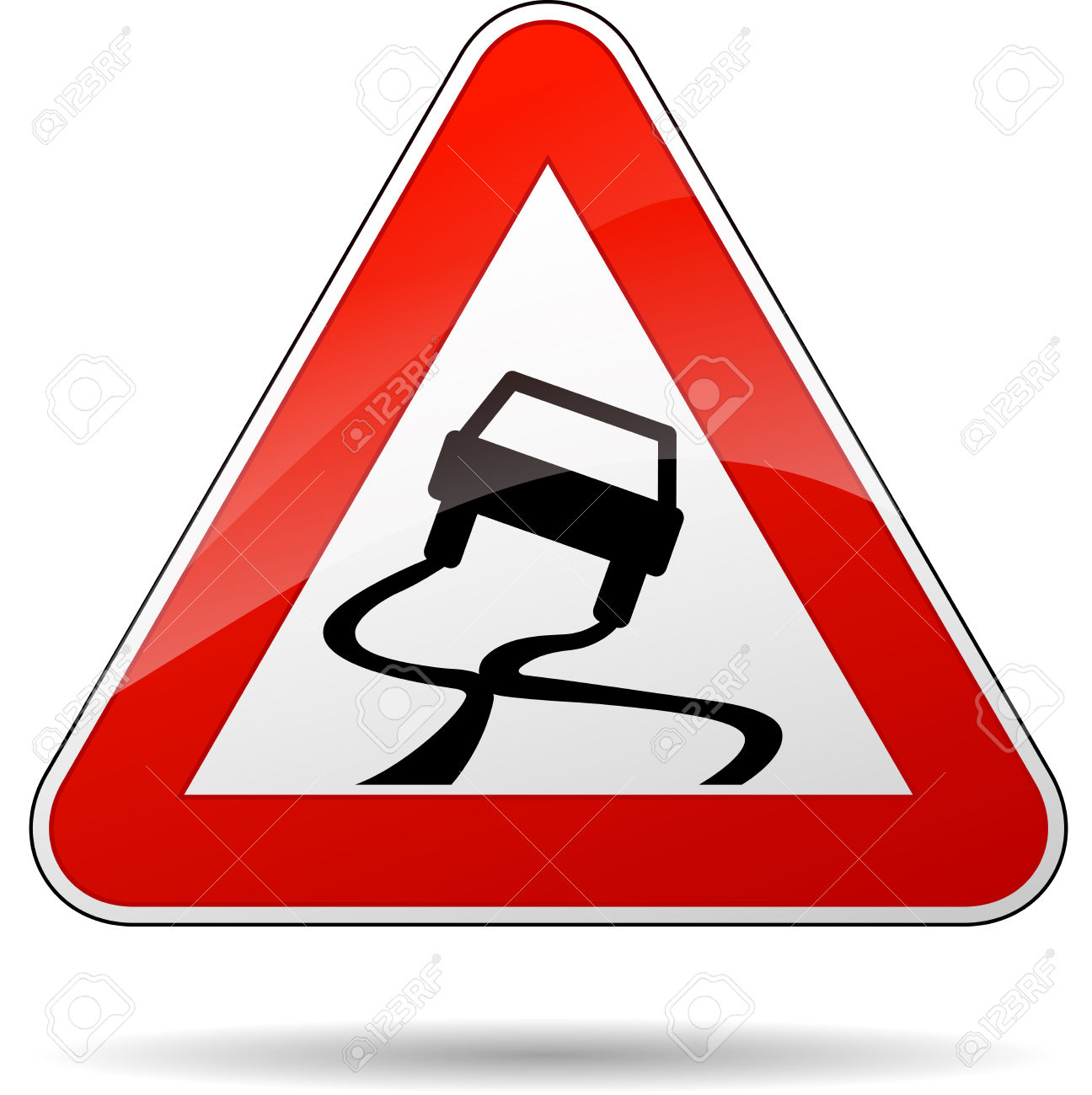 Vector Illustration Of Triangle Traffic Sign For Slippery Road.