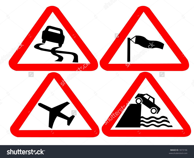 Hazard Road Signs Slippery Roads, Side Winds, Airport, Drop Stock.