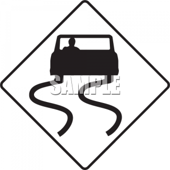 Slippery When Wet Road Sign with Car.