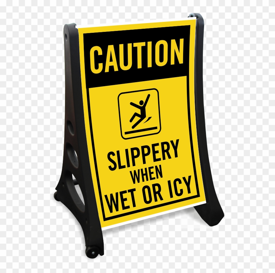 Slippery When Wet Or Icy Sidewalk Sign Kit Clipart (#3105484.
