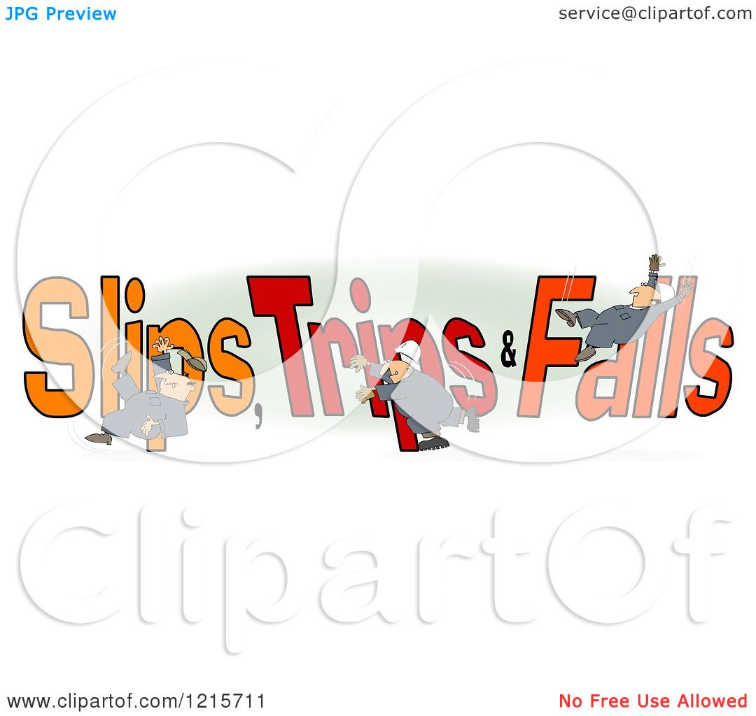 Clipart of a Slipping Tripping and Falling Man over Slips Trips.