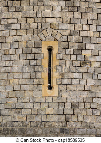 Stock Photos of An Arrow Slit on an Old Castle Building.