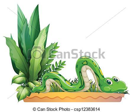 Vector Clip Art of A green snake.