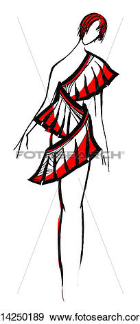 Stock Illustration of short dress from wide stripe with slits.