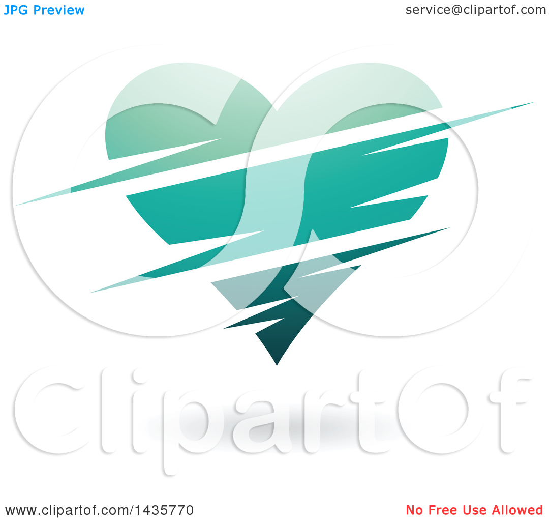 Clipart of a Floating Turquoise Heart with Slits.