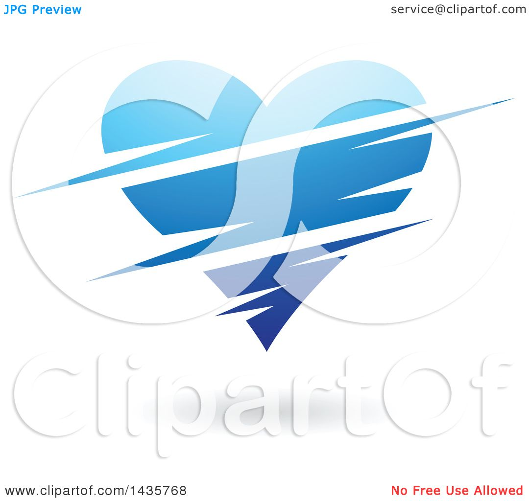 Clipart of a Floating Blue Heart with Slits.