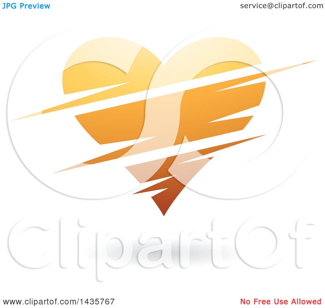 Clipart of a Floating Orange Heart with Slits.