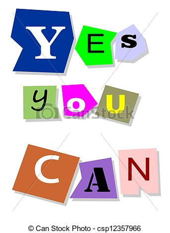 Clip Art Vector of Yes you can.