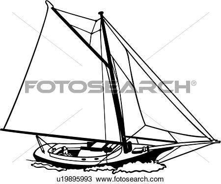 Clip Art of , boat, friendship, sailboat, sailing, sloop, sport.