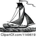 Clipart of a Vintage Black and White Graduate Sailing over.