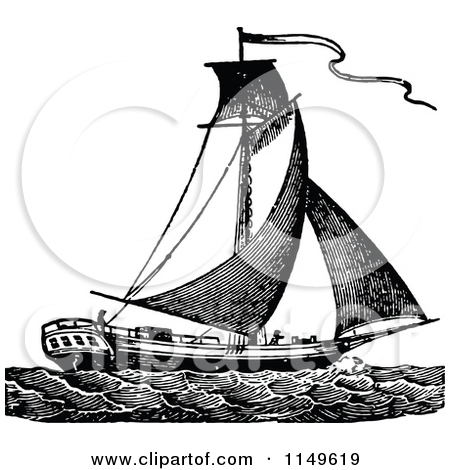 Clipart of a Retro Vintage Black and White Sloop Sail Boat.