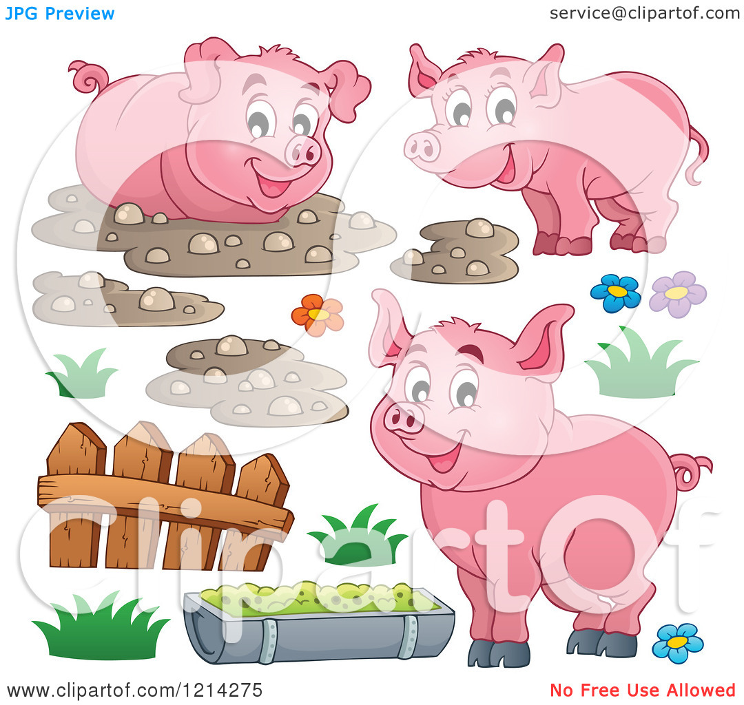 Clipart of Happy Pigs with Mud a Fence and Slop.