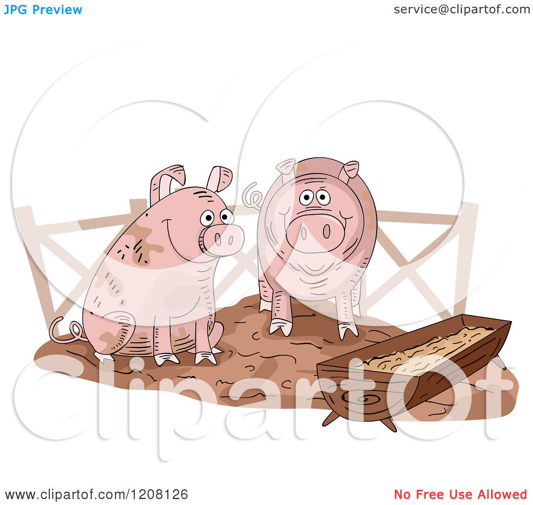 Cartoon of a Pig Slop with Two Happy Swine.