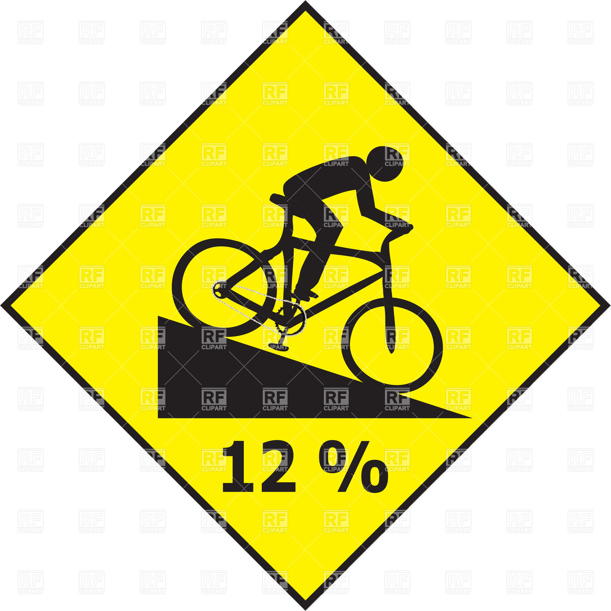 Road slope sign with cyclist Vector Image #38484.