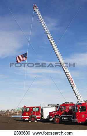 Stock Photograph of Prudhoe Bay Fire Department flying the.