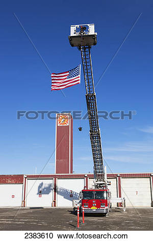 Stock Photography of Prudhoe Bay Fire Department flying the.