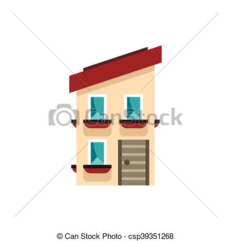 Clip Art Vector of Two storey house with a sloping roof icon.